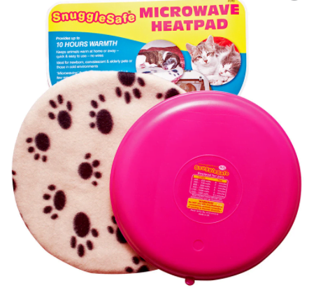 A microwaveable heat pad for cats